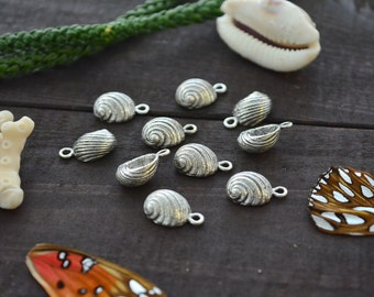 Antique Silver Snail Shell Charms, 10x16mm, 2pcs / Nunn Designs, Snail Shell Pendants, Nautical, Beach Charms, Sea Shell, Jewelry Supplies