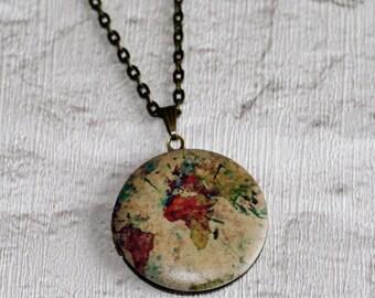World Map Locket, Travel Necklace, Globe Locket, Atlas Necklace, Earth Locket Necklace