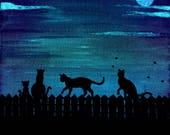 Cat Art Alliecat nighttime Kitty Painting Glow in the Dark moon cat sillouettes junkyard trash can scene Blacklight cat art