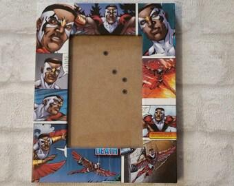 "Falcon Frame. Avengers Falcon Super Hero Comic Book Decoupage Picture Frame 6""x4"" or 7""x5"". Same Wilson. Gift for Boys"