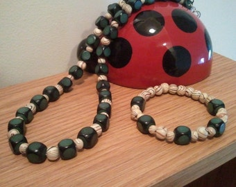 Handmade Wooden Necklace - Handcrafted Wooden Beaded Necklace - Beaded Bracelet - Shades of Teal -  Wooden Beaded Necklace  23.50