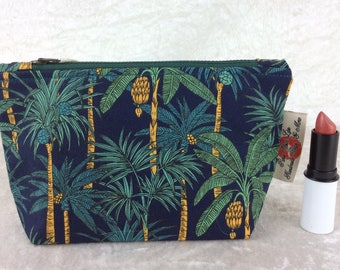 Handmade Zipper Case Zip Pouch fabric bag pencil case purse Palm Trees