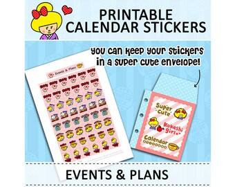 PRINTABLE Cute Kawaii Kokeshi Doll Calendar Stickers for Filofax Organizer Instant Download (Events & Plans)