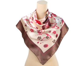 Pink Flowers Print Scarf 80s White Floral Satin Neck Scarf Abstract Liberty print Abstract Printed Scarf