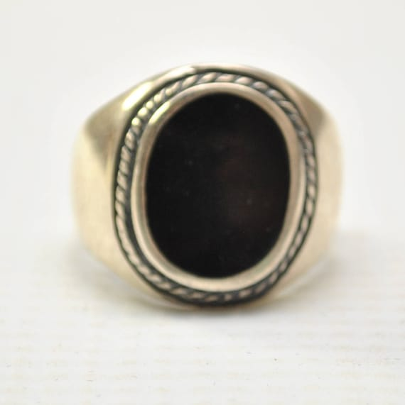 Onyx Large Oval with Braid in Plain Sterling Silver Ring Sz 11 #8746
