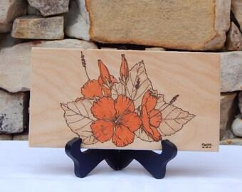 Orange Hibiscus Woodburning Pyrography