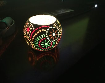 Hand made mosaic candle