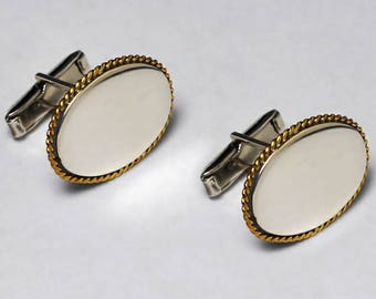 Mens Vintage Style Oval Shape Cuff Links 925 Sterling Silver with  Yellow Gold Edges