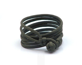 Olive green paracord bracelet for him, knot wrap bracelet made in italy, minimal necklace handmade.