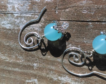 Lovely light and bright Blue Chalcedony Stone drop Earrings with hand forged Ear wires