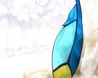 Stained Glass Feather SunCatcher Blues and Yellow Cathedral Glass