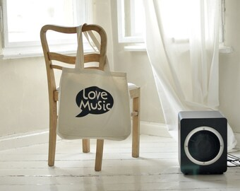 BIG tote bag, LOVE MUSIC, festival bag. canvas bag, beach bag, wearing on shoulder, shopping bag, shoulder bag, linen bag, tote with print