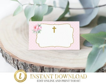 Christening Tent Cards, Baptism Name Cards, First Communion, Food Labels, Place Cards, Buffet Cards, INSTANT DOWNLOAD, Pink & Gold Floral