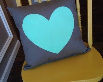 Mint heart pillow, mint and gray pillow, mint and gray decor