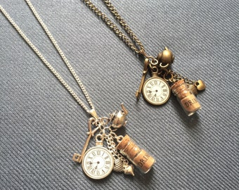 Alice in Wonderland necklace, long necklace, daughter gift, Alice in Wonderland gift, watch necklace, steampunk necklace, birthday gift
