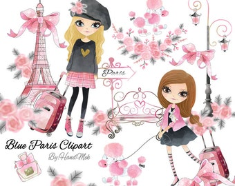 Pink Paris clipart, Paris clipart Instant Download PNG file - 300 dpi