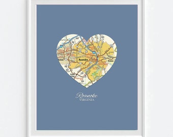 Roanoke Virginia Heart Vintage Map ART PRINT City state gift, housewarming, moving, christmas gift for her, fathers day, wedding gift