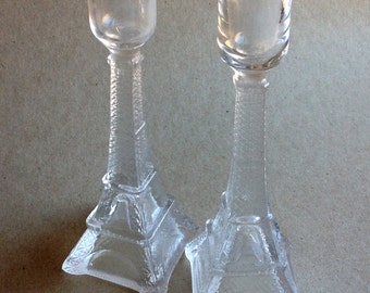 pair of vintage eiffel tower candlesticks glass