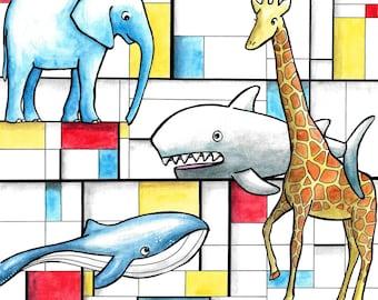 Custom personalised big art Mondrian four animals 10 x 16 10 x 10 5 x7 - Katie Hone - Original Artwork - Whimsical