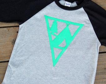 5T Camping Raglan, Pennant Shirt, Camp Shirt, Tepee Shirt, Ready to SHIP, Mountain Shirt