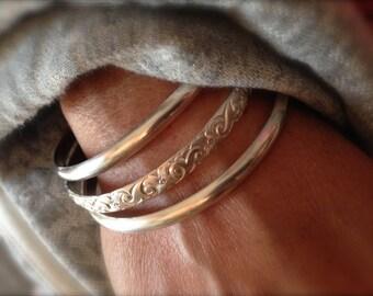 Set of 3 Heavy  Sterling silver bangle bracelets - half round and pattern -