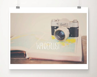 travel photograph camera photograph wanderlust art map photograph typography print vintage camera print hipster style retro camera art