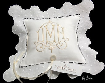 Personalized ring bearer pillow Monogram wedding ring pillow White Irish linen ring cushion Custom ring bearer pillow jfyBride Style 6289