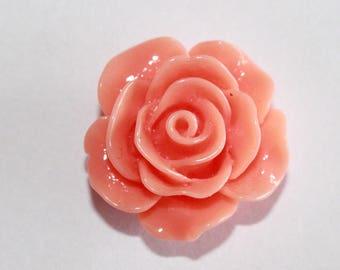 pretty resin flower cabochon, orange 20 mm set of 4