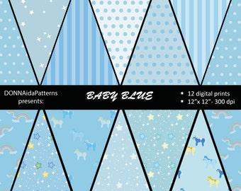 "Baby blue: 12 Digital Papers - 12""x 12"" -300dpi .jpeg -INSTANT DOWNLOAD/12 papeles digitales en formato jpeg- DESCARGAR"