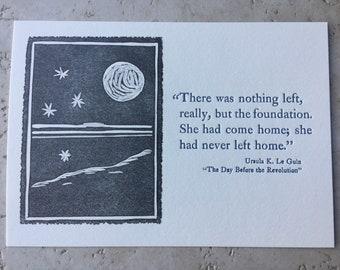 Ursula LeGuin letterpress print