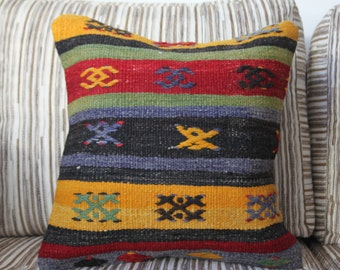 "Bright Colors Handmade Kilim Pillow Cover 16"" x 16""  Embroidery Rug Vintage Turkish Kilim Rug Decorative Pillow Cover Kilim Cushion Covers"