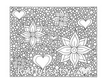 Zentangle Inspired Printable Coloring Page, Hearts and Flowers  Zendoodle Page 45