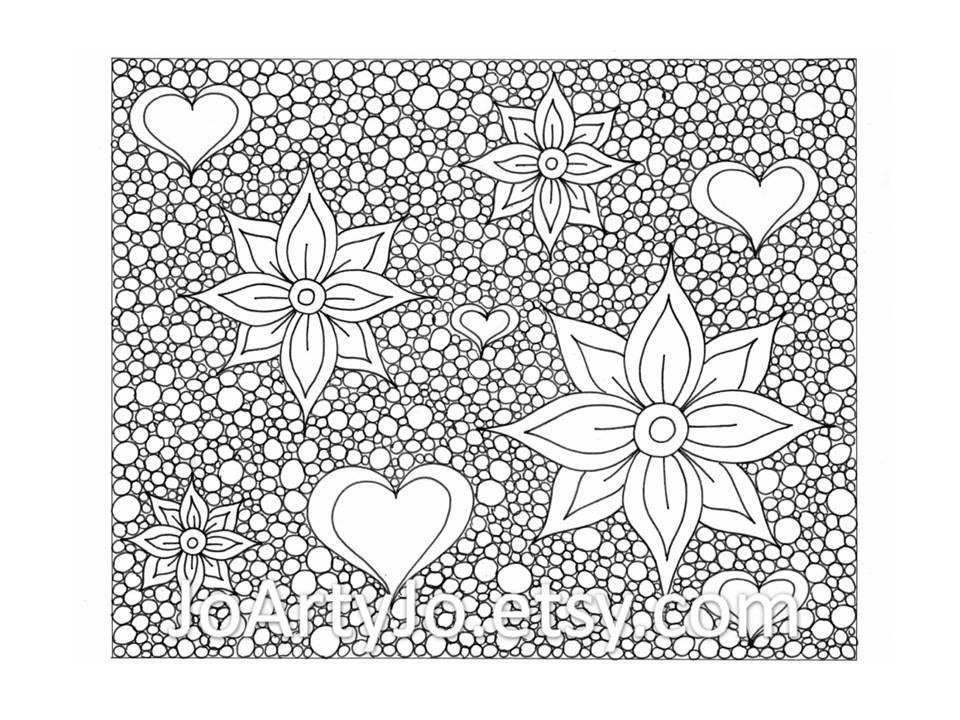 Zentangle Inspired Printable Coloring Page Hearts and Flowers