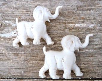 Vintage 1960/60s French white plastic toys Elephants /set of 2