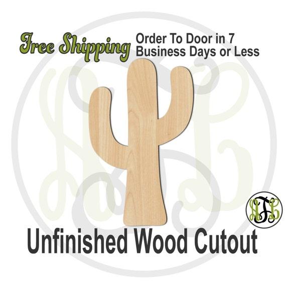 Cactus - No. 300071- Desert Cutout, unfinished, wood cutout, wood craft, laser cut shape, wood cut out, Door Hanger, wooden, blank