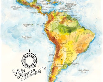 latin america the caribbean map watercolor illustration south central american mexico brazil chile latin america