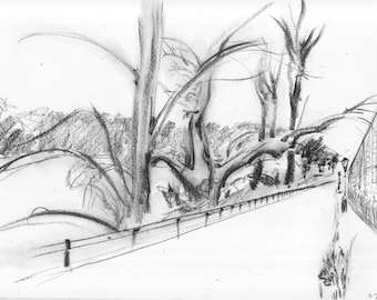 Between the Ballpark and the Hudson - print of original charcoal drawing