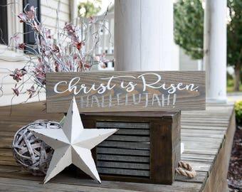 Christ is Risen halleujah wood sign.  Religious sign, Religious Easter sign, Easter decor, Easter sign, Easter, He is risen, Halleujah.