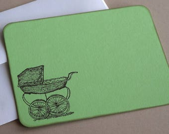 Baby Flat Note Cards - Baby Carriage - Set of 10