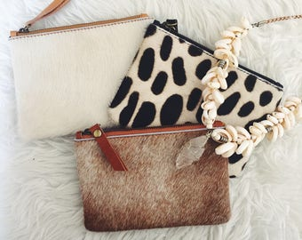 Cowhide Leather Clutch Size Small