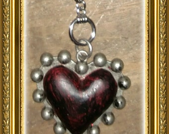 Heart Ceiling Fan Pull Chain / Home Decor - Silver Link Chain - Red & Gunmetal Studded Heart