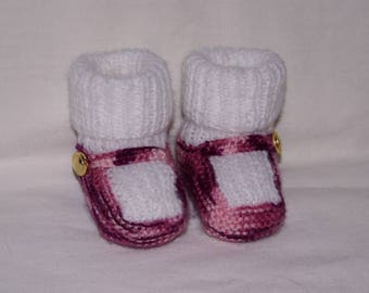 Slipper sock baby pink and white marbled knit