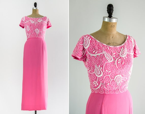 vintage 1960s pink chiffon maxi dress | 60s cocktail dress | beaded evening gown