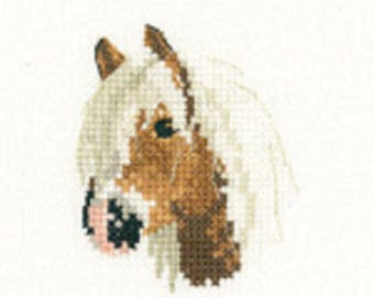Palomino Pony  Cross Stitch Kit from  Heritage Craft Little Friends on 14ct Aida, needlework kit, cross stitch, counted cross stitch kit