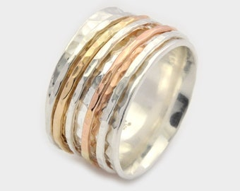 Hammered Silver Spinner Ring, Silver Spinner Ring, Silver and Gold Spinner Ring, Hammered Silver Spinner Ring, Meditation Ring