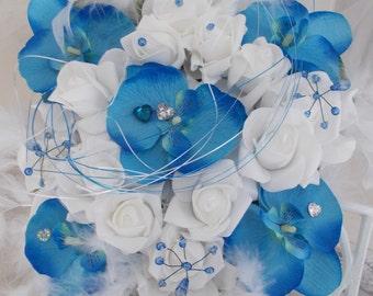 bouquet  bridal bouquet blue orchids and roses