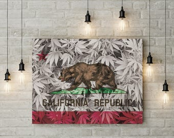 Weed Leaf California Flag Canvas
