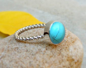 Natural Turquoise Silver Ring Turquoise Statement Ring December Birthstone Turquoise Ring Gift for Her Solitaire rings 925 silver ring