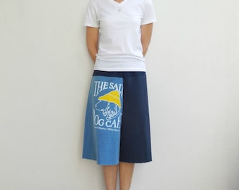 Womens Culotte Pants Recycled T Shirts Upcycled Tees Drawstring Cotton Beach Vacation Comfortable Soft Resort Wear Spring Summer by ohzie