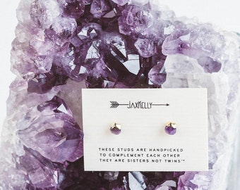 Gold Dipped Amethyst Studs